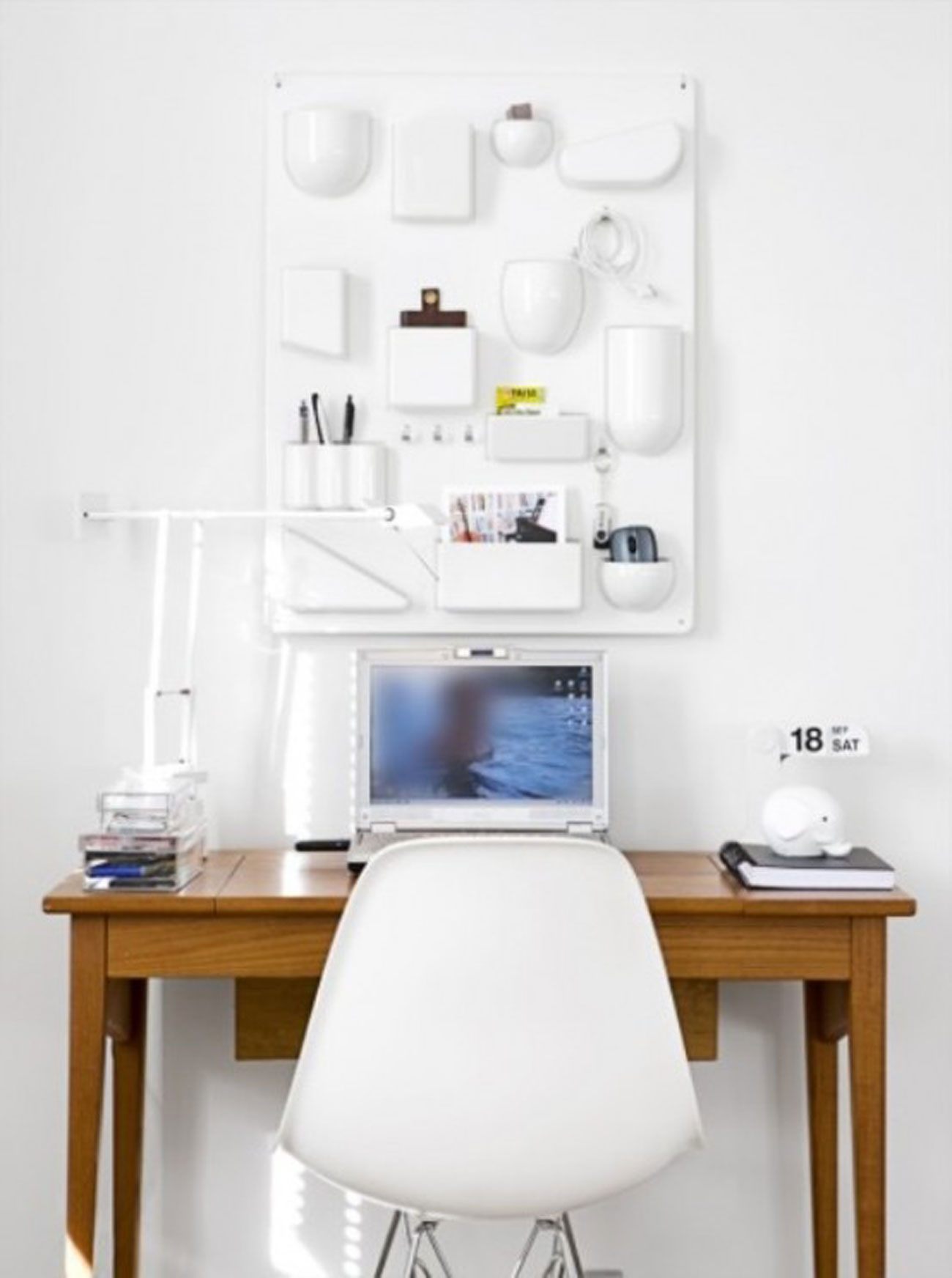 Bright White Interior Ideas from a 50s Scandinavian House - Working Desk