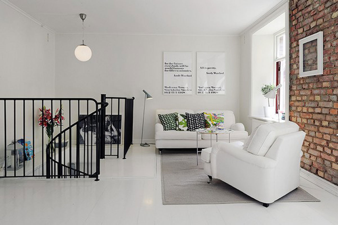 Elegant White Interior Design of a Minimalist Duplex Apartment ...