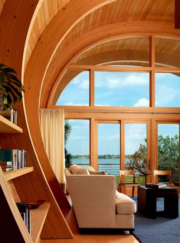 Wooden Framed House, Unusual Design named Hammock-Shaped Guest House - Livingroom