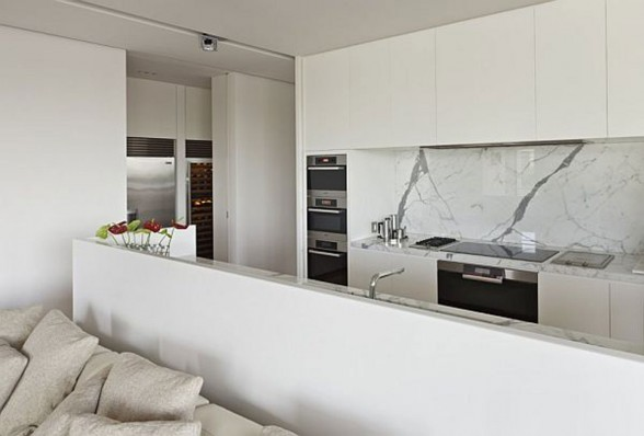 minimalist white kitchen space