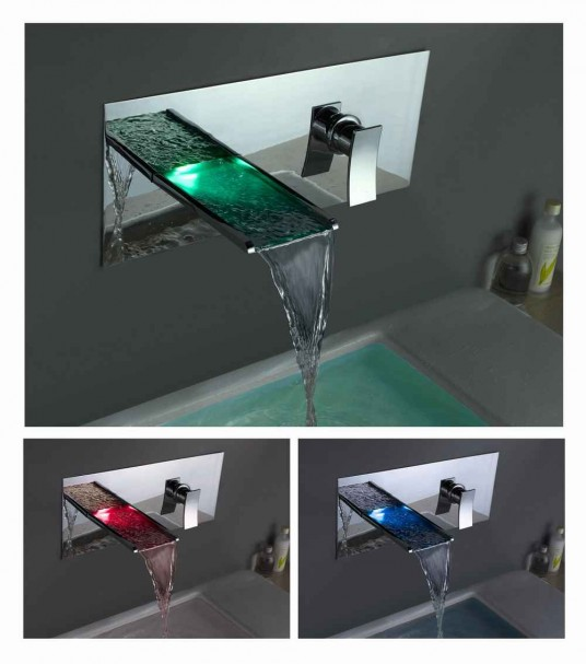 Waterfall faucet led