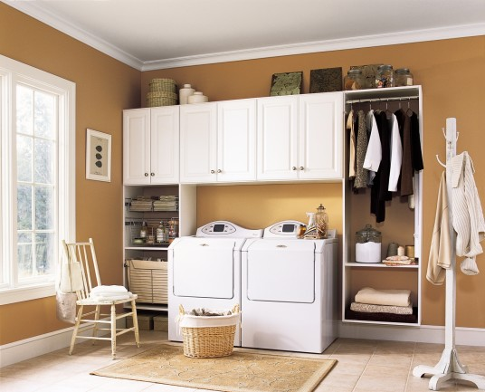 Modern Brown Laundry Room White Laundry Cabinet Two Washing Machines