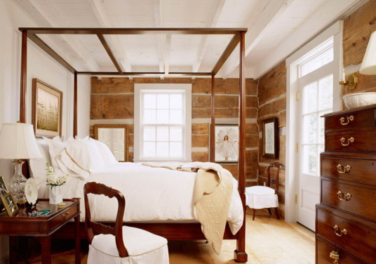 Rustic Master Bedroom Design Canopy Bed Beams Ceiling