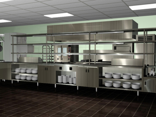 Amazing Modern Spacious Commercial Kitchen Design Chrome Color Design