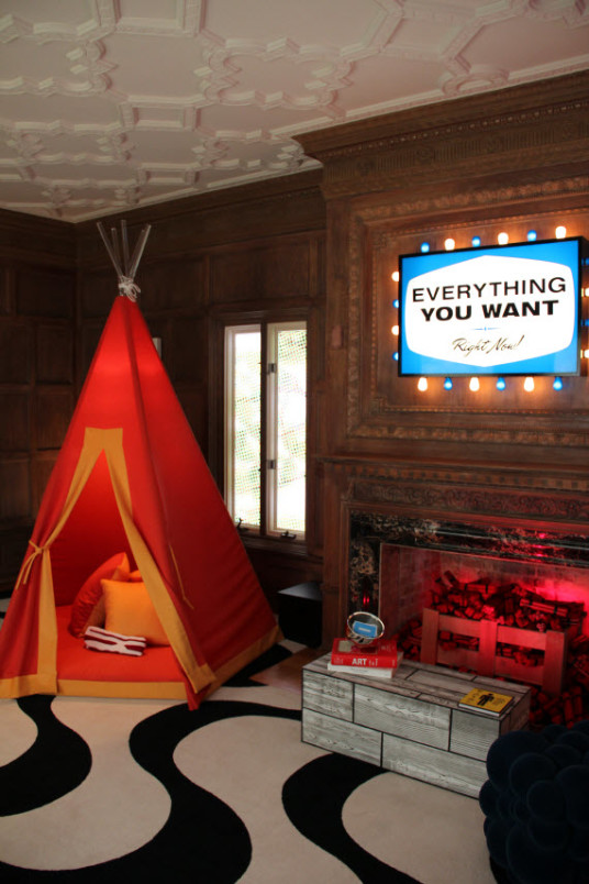 Awesome Kids Playroom Ideas With Fireplace Red Tent
