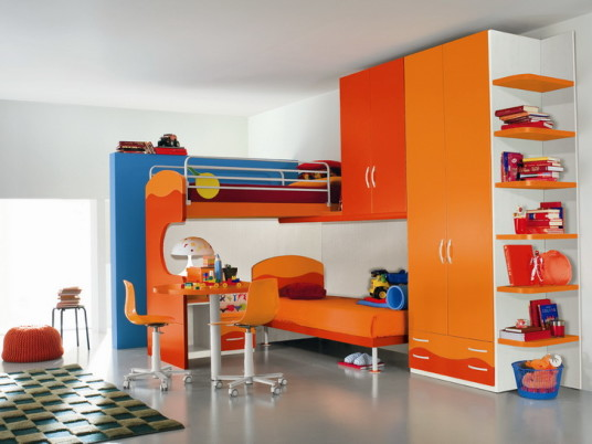 Contamporary Kids Room With Colorful Modern Kids Furniture