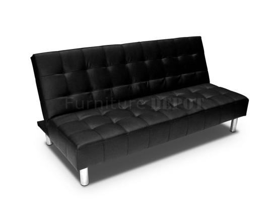Extravagant Modern Balck Color Leather Sleeper Sofas Metal Frame