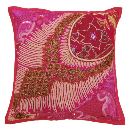 Extravagant Pink Sofa Pillows Artistic Floral Decoration Style