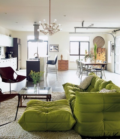 Gorgeous Artistic Green Togo Sofa Brown Chairs Design Ideas