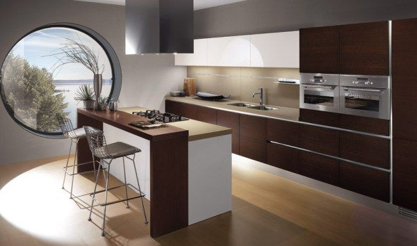 Gorgeous Modern Brown Minimalist Italian Kitchen Design Ideas