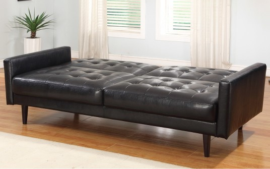 Great Modern Black Color Artistic Leather Sleeper Sofas Design