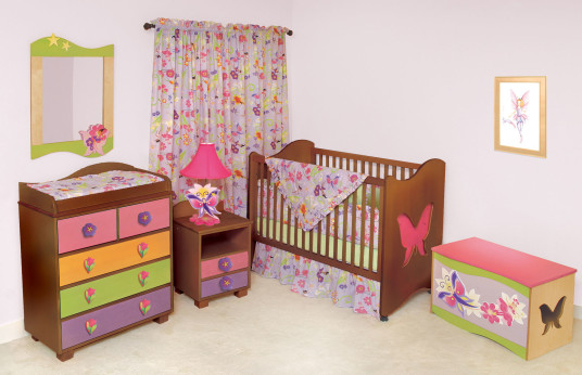 Minimalist Magic Garden Baby Furniture Sets Floral Curtain And Bedspread