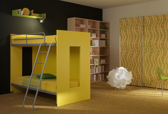 Sleek Modern Kids Furniture Yellow Loft Bed Wooden Bookcase