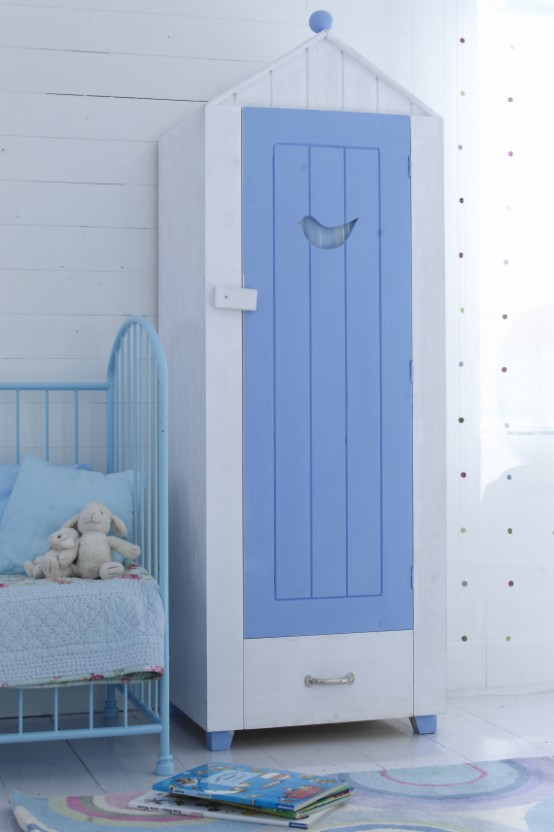 White Plank Wall Blue Door Kids Wardrobes Metal Frame Cradles