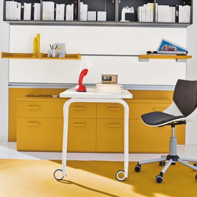 Yellow Grey Home Office Mobile Chair Modern Desks For Kids Design