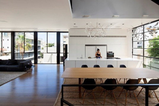 Open Space Kitchen Dining and Drawing Room Decorated in Minimalist Style