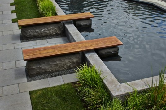 Swimming pool Plus Installed Wooden Planks And Stone