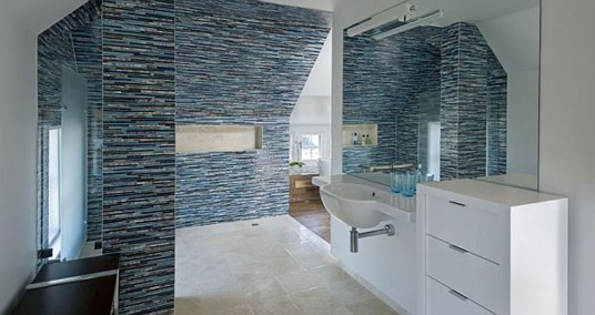 Beautiful Wooden Furniture Bathroom Glass Mosaic Walls