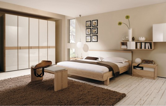 Neutral Colors Bedoom Design With Large Sleek Armoire And Brown Fur Rug