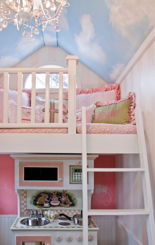 Children Bedroom Ideas with Sky Ceiling Wallpaper
