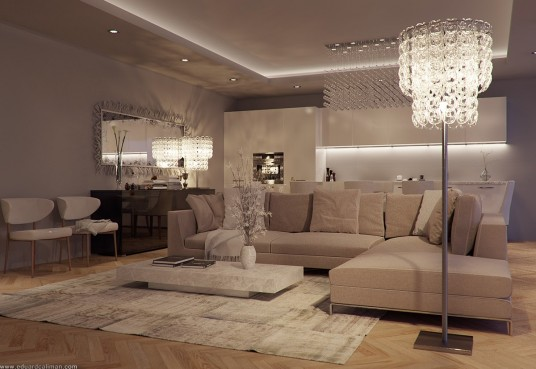 Modern Apartment Lighting Effect with Crystal Lamp