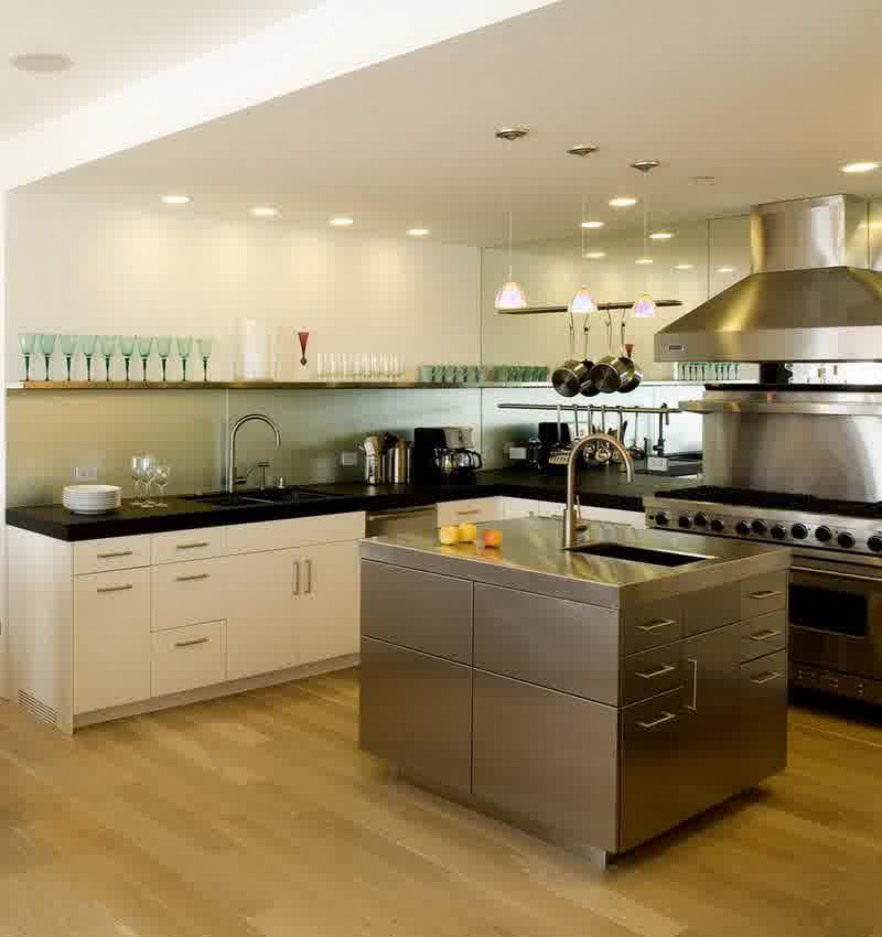 Modern Kitchen Design with Stainless-Steel Island