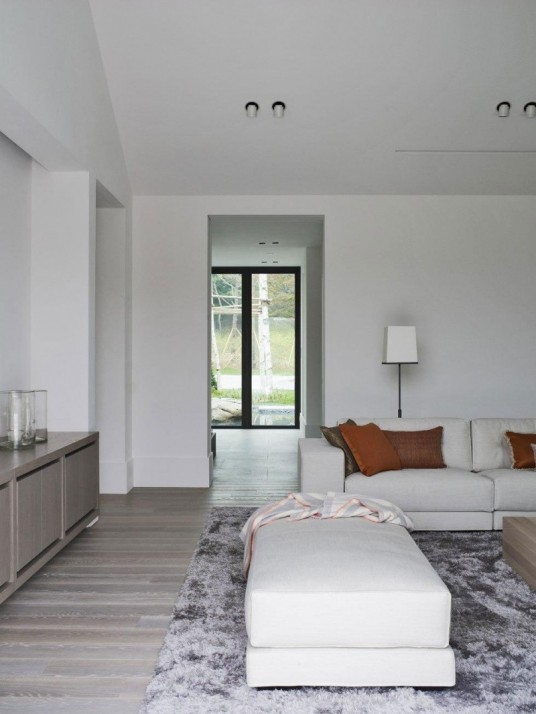Modern Minimalist White Living Room in Asian Private House