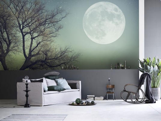 Moon and Tree Wall Mural Ideas