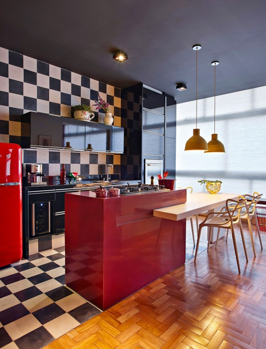 Stunning Black and White Kitchen Interior Design with Dramatic Red Additions of Kitchen Island and Refrigerator