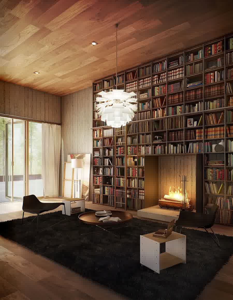 Small Library Design in Wooden House