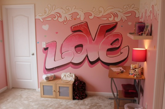 Love Quote with Pink Color Bedroom Wall Painting Ideas