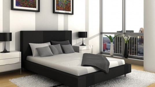 Luxurious Bedroom Design with Black, Grey and White Color Decoration Idea