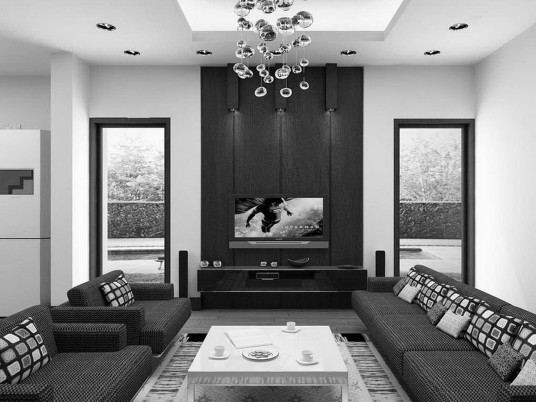Luxury Living Room in Black and White Color Theme with Dark Brown Furniture