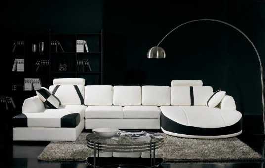 Ultramodern Black Living Room Inspiration With Glass Table and White Sofa and Also Fur Carpet