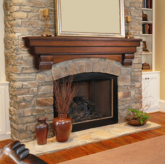 Large Interior Design with Brick Fireplace