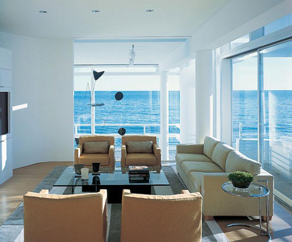 Modern beach house living room - Interior design license california ...