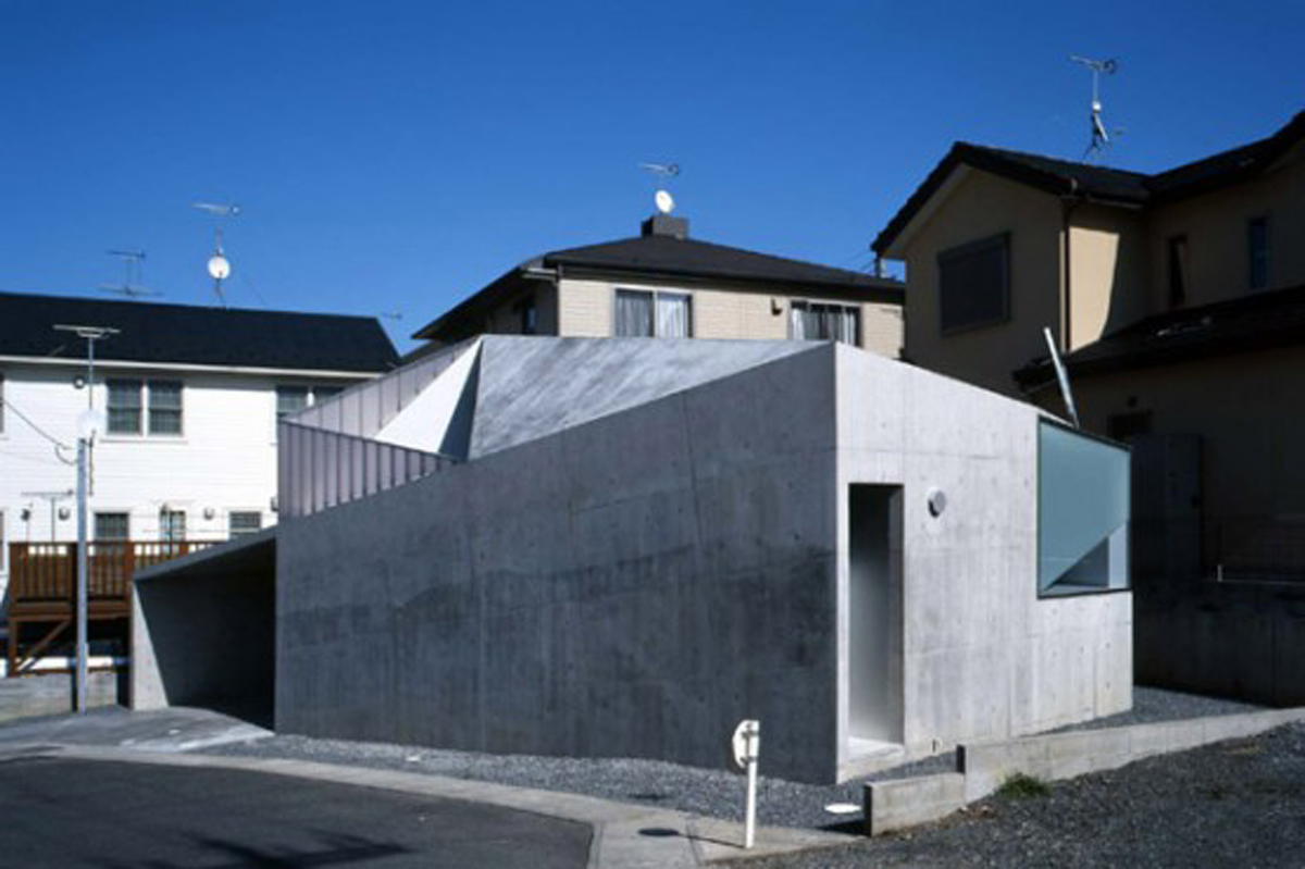 Exterior Kitchen Japanese Concrete House Design With Small Building Concept
