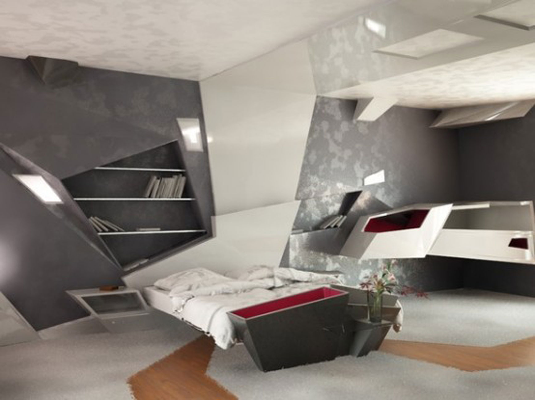 Modern And Futuristic Apartment Interiors Design Bedroom