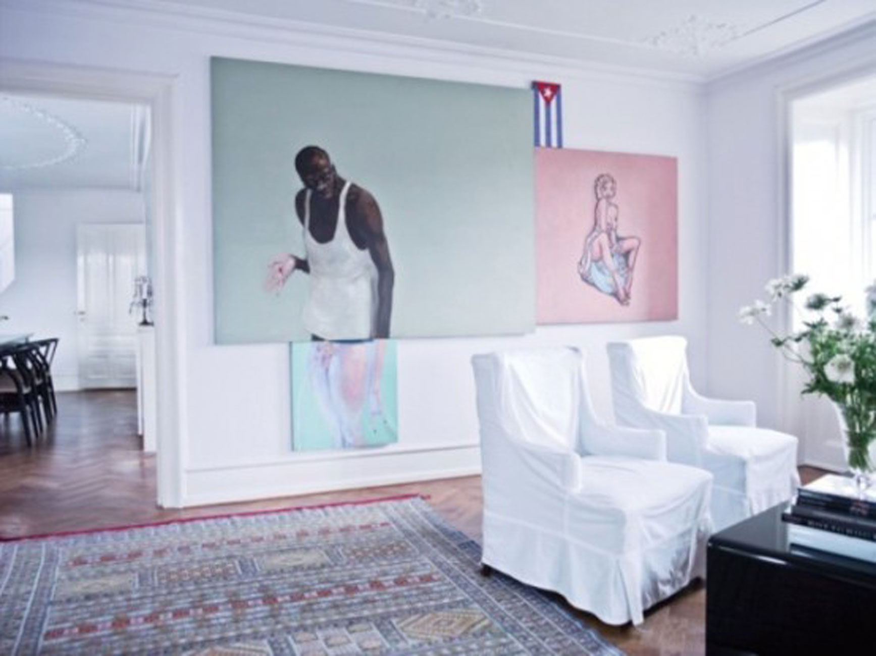 Bright Apartment Interior Design By Nina Nyborg Wall Painting