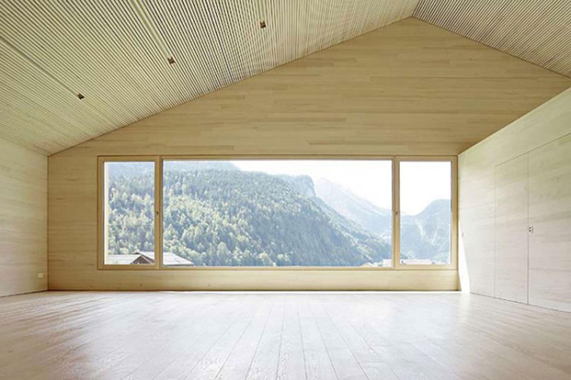 Minimalist Wooden House Ideas By Bernardo Bader Top Room