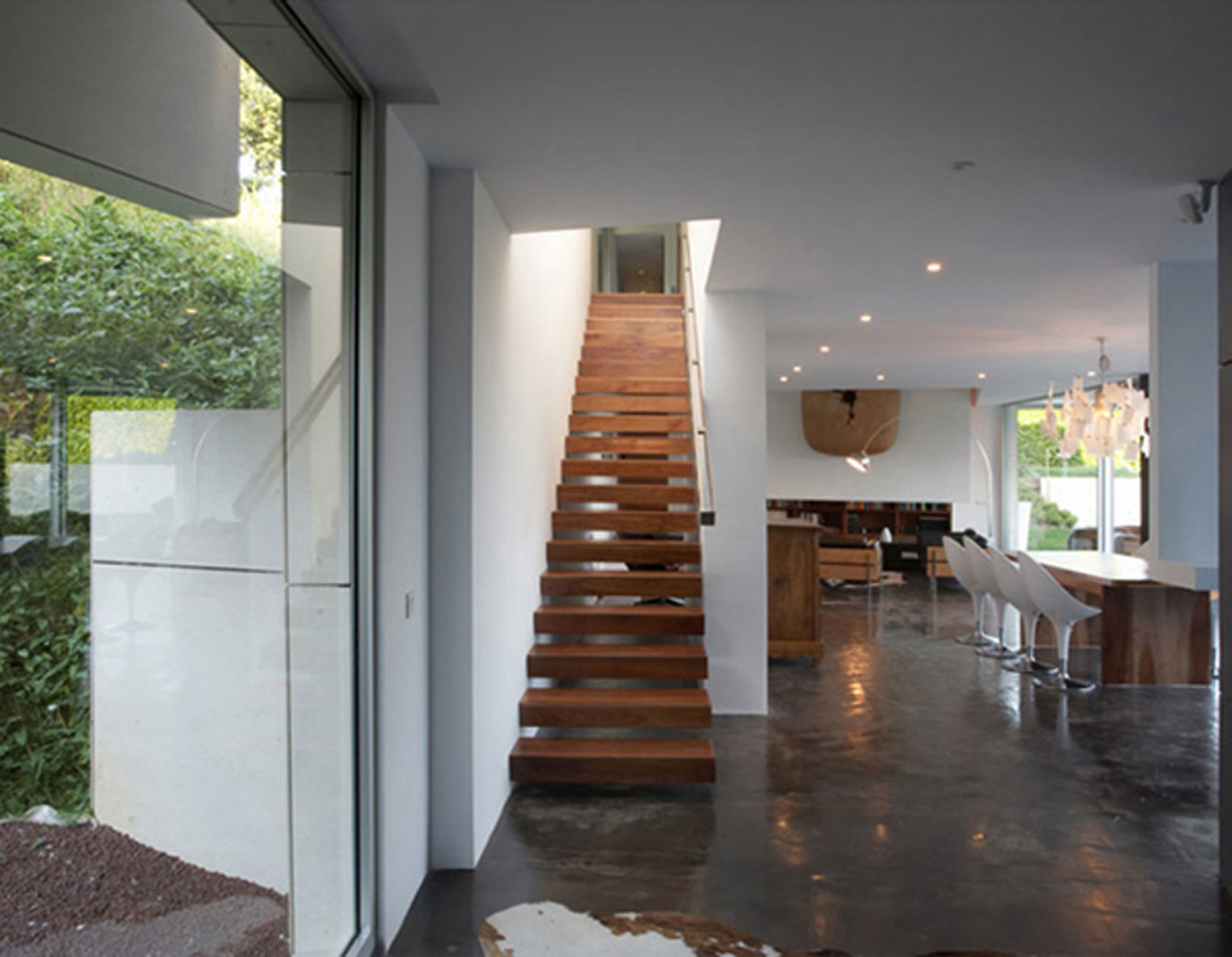 Modern House Architecture With Contemporary Interior Design By A Cero  Wooden Staircase