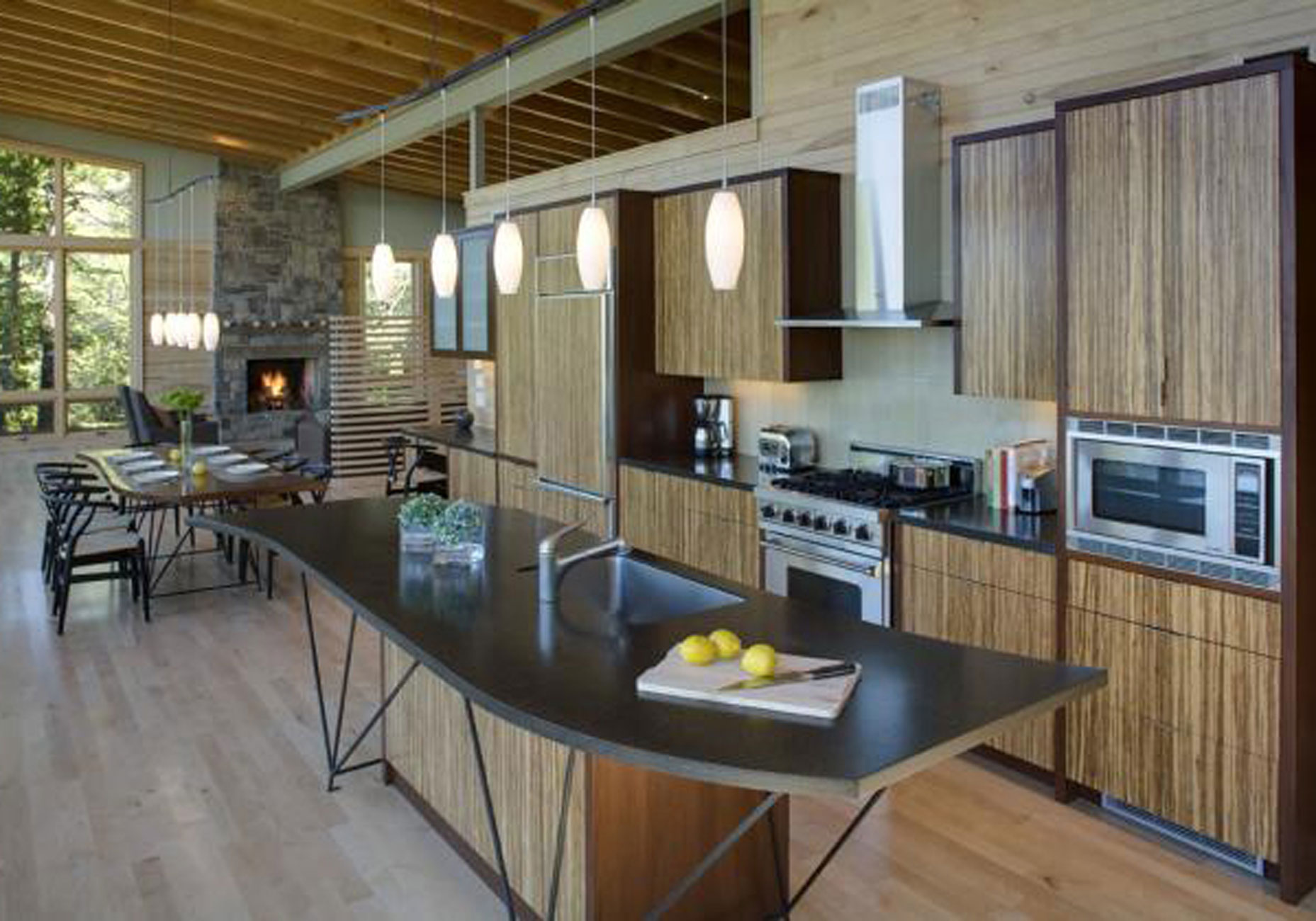 Modern lake house with amazing interior design from finne architect kitchen