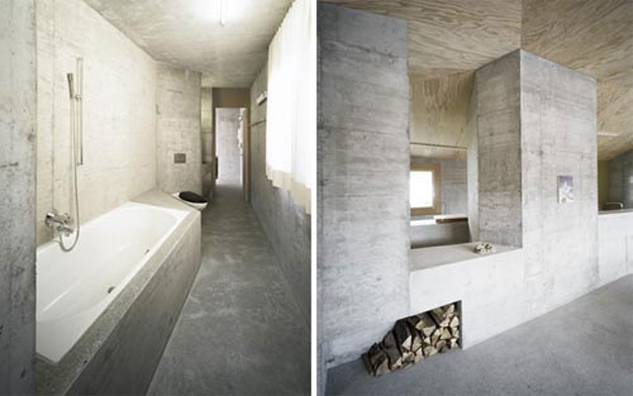 solid concrete house architecture and minimalist interior design in berlin bathroom viahouse com. Black Bedroom Furniture Sets. Home Design Ideas