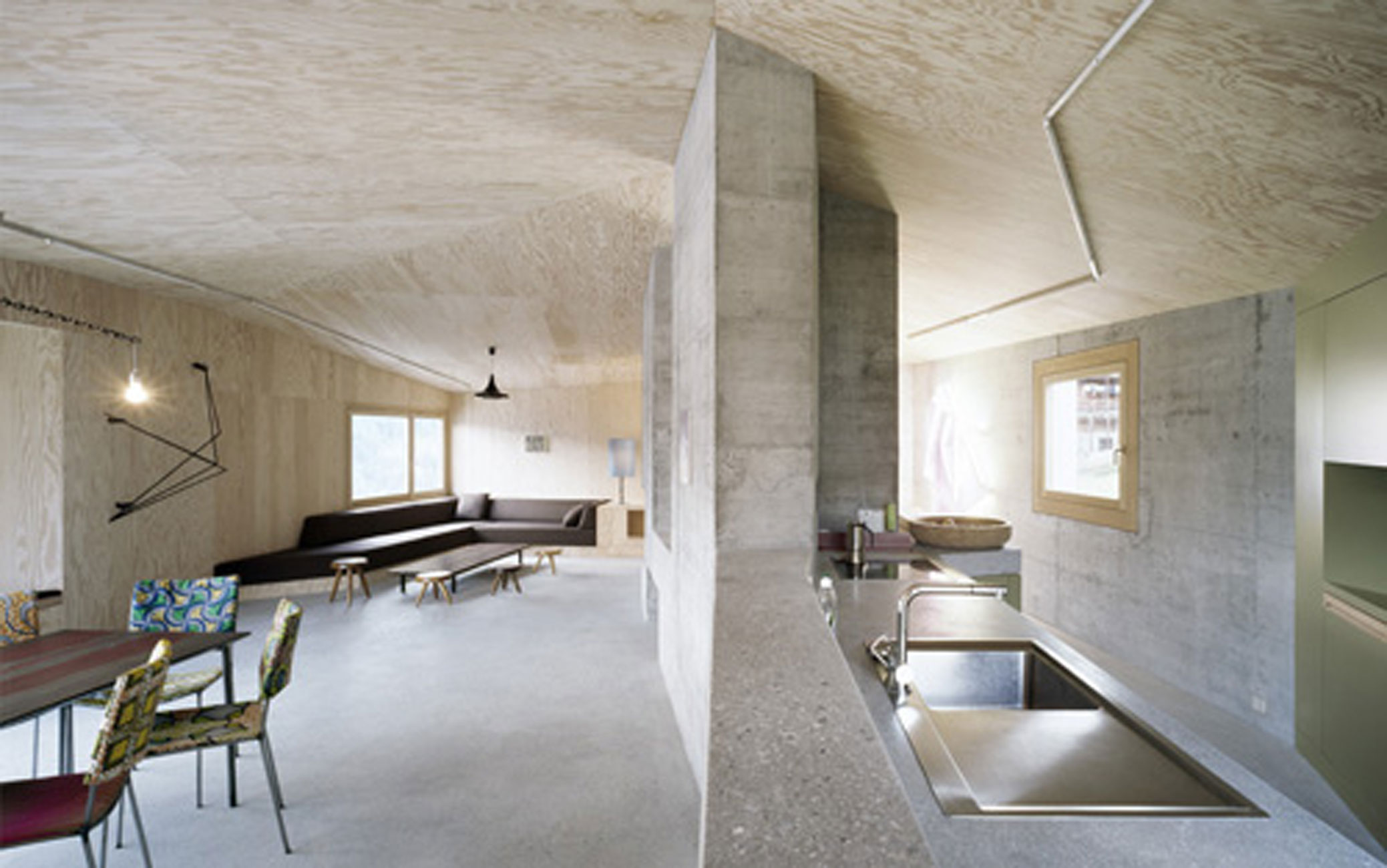 Solid concrete house architecture and minimalist interior design in berlin kitchen