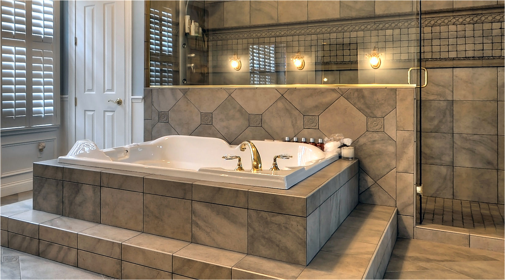 Awesome Bath Tub With Granite Tile Stunning Art Harding Construction ...
