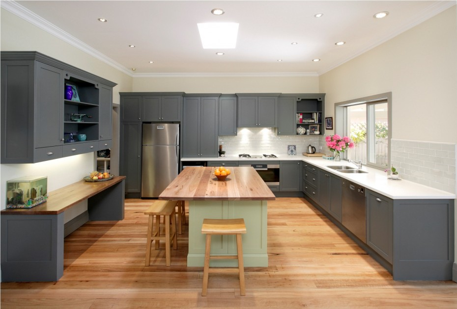 Astonishing Kitchen Cupboards Paint Wooden Floor Gray White Ceiling