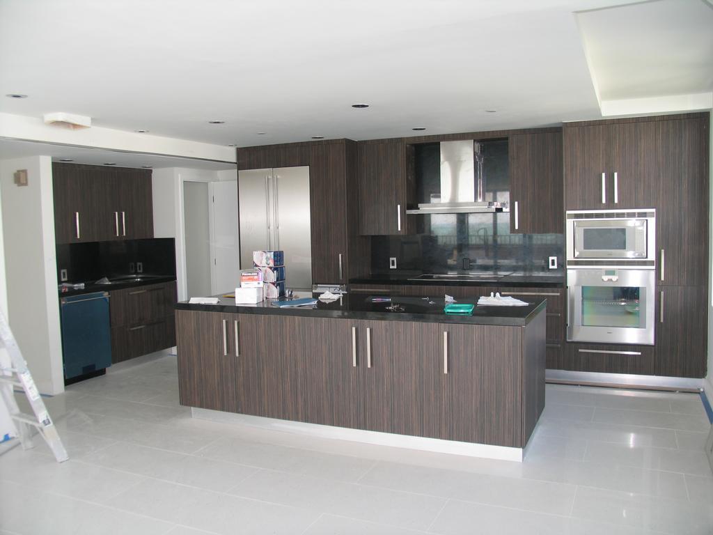 Black Italian Style Kitchen Cupboards Paint Ceramic Tile Floor