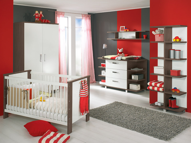 Cool Grey Red Nursery Interior Colored Modern Baby Furniture