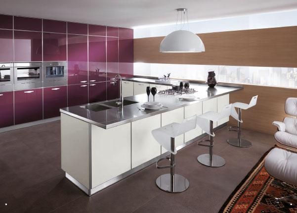 Elegant Modern Minimalist Italian Kitchen Design Purple Cabinets