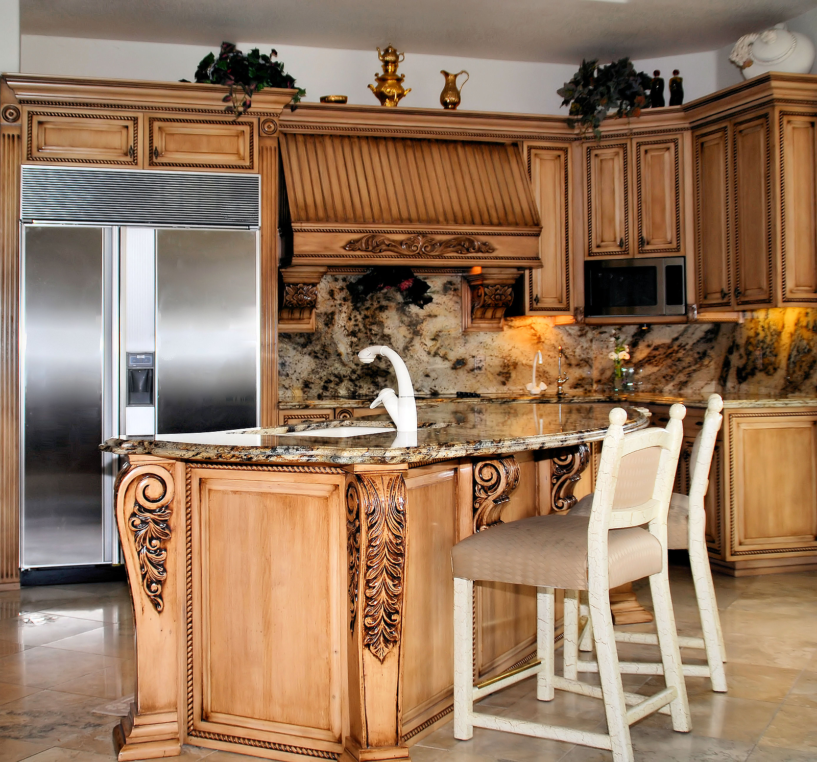 Fresh Look Design Your Own Kitchen Carved Wood Cabinet Island